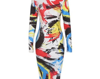 Scoop Neck Long Sleeve Printed Bodycon Women's Dress