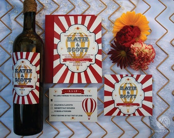 Vintage Circus Carnival Wedding Wine Label