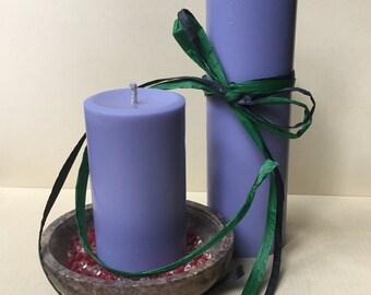 Violet Soy Wax Pillar Candles