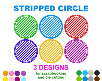 Stripped Circle - For Die Cut and Scrapbooking - 3 designs 24 colors - PNG and SVG files
