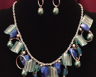 Blue Beaded Necklace and Earrings