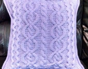 Hand Knit Celtic/Aran Style Sweater Pillow