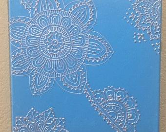 Blue and Silver Mehndi Style, Mehndi Painting, Henna Style, Henna Painting