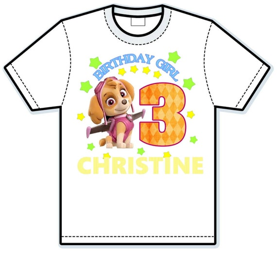 Paw Patrol Birthday Girl Children's hand painted Shirts