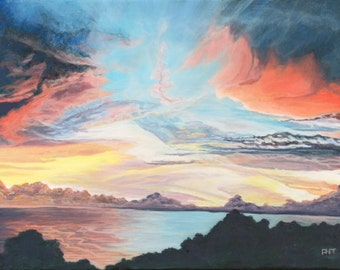 Ozark Lake Sunset,  12 x 16 in., original acrylic painting,   by  Roxanne Thompson