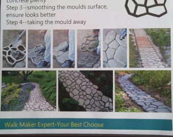2 - 43cm x43cm Crazy Path Maker Paving Brick Patio Concrete Slabs Path Pathmate Garden Walk Maker Mould