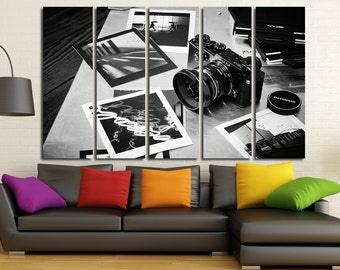 Large Wall Art Vintage Camera Canvas Print / Large Old Camera Wall Art / Living Room Panel Art / Canvas Print / Vintage  / Old Photo