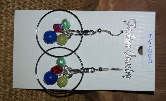 Circle Earrings with 4 Beads / Semi Precious Stone Earrings / Freshwater Pearl / Dangle Earrings / Hippie Earrings / Boho Jewelry / E61005