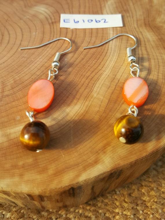 Coral Orange Tiger Eye Earrings / Mother of Pearl Earrings / Tiger Eye Earrings / Dangle Earrings / Hippie Earrings / Boho Jewelry /E61062