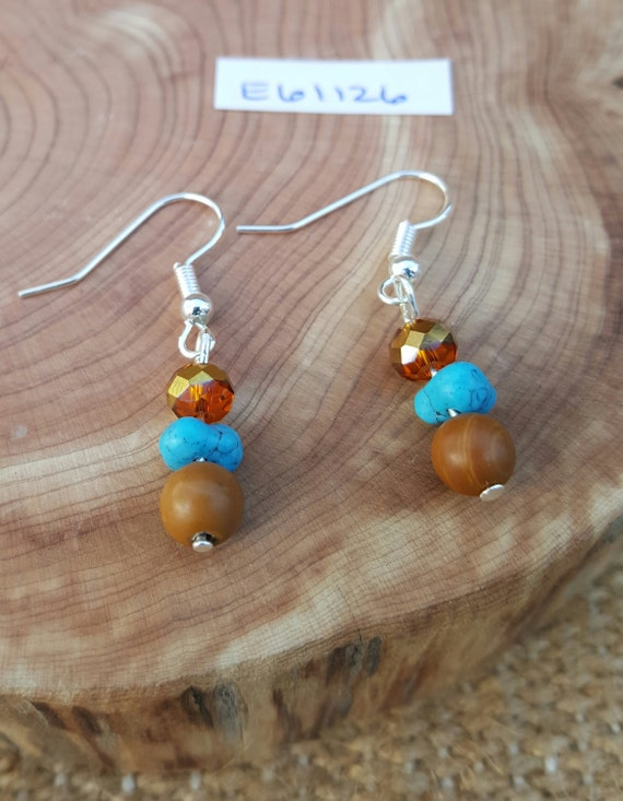 Tan Jasper and Turquoise Earrings / Jasper Earrings / Dangle Earrings / Hippie Earrings / Boho Jewelry /E61126