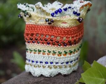 Colorful Beaded Crochet Cuff, Crochet Bracelet, Beaded Crochet Cuff, Ethno Cuff Jewelry, Boho Cuff Bracelet