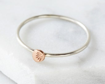 Rose gold and silver stacking ring with starburst detail