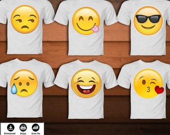 Digital SET Emoji Iron On Transfer Shirt Printable Birthday Party Decoration DIGITAL IMAGE