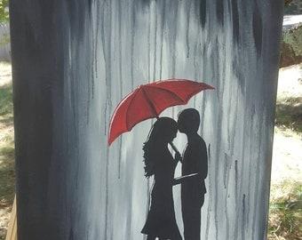Couple Red Umbrella Etsy