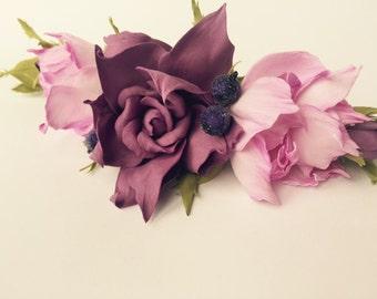 wedding flower hair clip purple flower barrette wedding hair clip large barrette purple flower hair clip