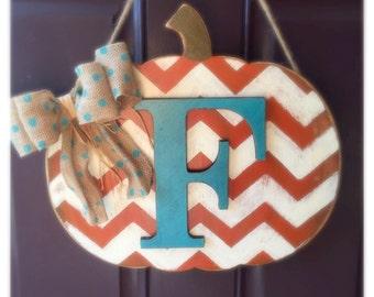 Monogram Pumpkin, Door Hanger, Fall Front Door Decor
