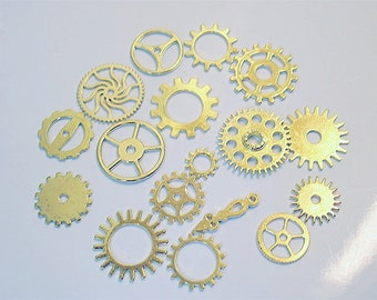 25PC. ANTIQUE GOLD  Tone Plated Finish// Antique Gold steampunk charm assorted//cogs, and gears//25pc steampunk assortment