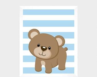 Woodland Animal, Bear, Digital Print, Printable Art, Nursery Art, Baby Decor, Instant Download, Home Decor, Nursery Wall Art, Baby Print