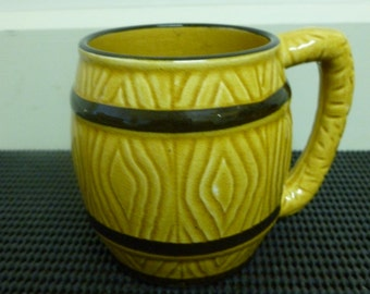 Vintage 1960's Ceramic Barrel Shaped Beer Stein/Tankard/Barrel/Coffee Mug/Cup Retro Mug/Cup Made In Japan