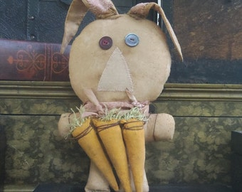 Primitive Rustic Easter Floppy Eared Rabbit with Carrots