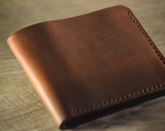 Mens Leather Wallet, Horween Leather, Chromexcel, Minimalist, Bifold
