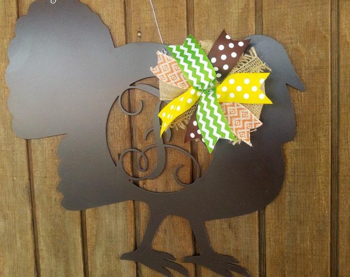 Fall door hanger, turkey door hanger, Turkey door wreath, Thanksgiving wreath, fall wreath, Metal turkey, Home decor, Thanksgiving decor