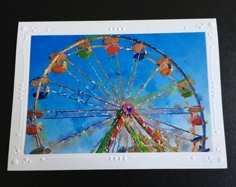 Ferris Wheel Picture Watercolor Card, Carnival Art, 5 x 7 Blank Greeting Card, Pastel Nursery Art, County Fair Notecard, Durham CT Fair Note