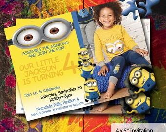 Minions Birthday Invitations   Minions Invite   Boys Birthday   Boys Birthday Party   Party Invite   Minions