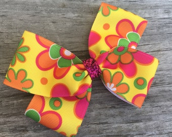 Pink and Yellow Flower Bow