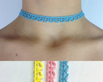 Small Triangle Lace Choker made with Vintage Lace with adjustible chain and clasp choice of Blue, Pink or Yellow