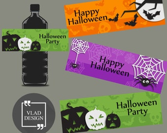 """3 Colorful Design Ready to print Halloween Water Bottle Labels Halloween's Party Water Bottle Labels PDF 8""""x11.5"""""""