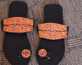 African Maasai Beaded Sandals|Multicolor Beaded Sandals | Elagant | Leather Sandals | Summer Sandles | Gift For Her