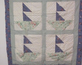 Sailboat Regatta Baby Quilt in Blue and Pale Green