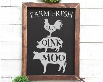 Cluck oink moo chalkboard sign, farm sign, framed chalkboard