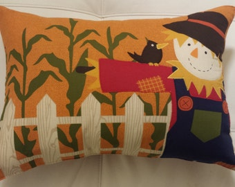 Scarecrow in a Cornfield Throw Pillow for Autumn and Halloween