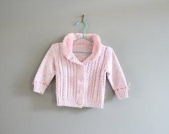 Vintage Baby Knit Cardigan Size 6 - 12 M #k006a