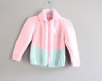 Vintage Handmade Chunky Knit Cowichan Cardigan Size 1 - 2 Years Old #k007a