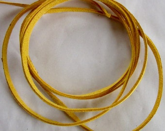 Suede cord flat 3mm, yellow