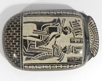 Amazing  Hand crafted Egyptian black  scarab beetle, Antique   Replica