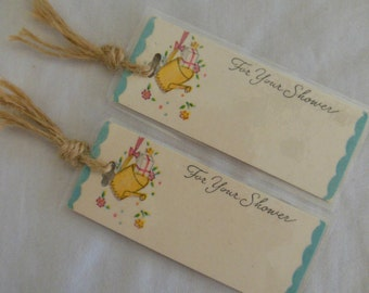 Mini Bookmarks Set of 2 Baby Shower Gift Vintage Laminated Gift Tags OOAK