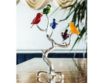 Exclusive Handmade Glass Tree With Birds Sculpture Decorative Art With 5 Birds