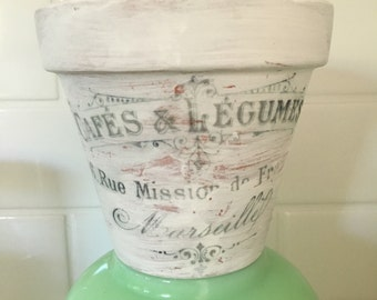 Handmade French Typography Clay Pot