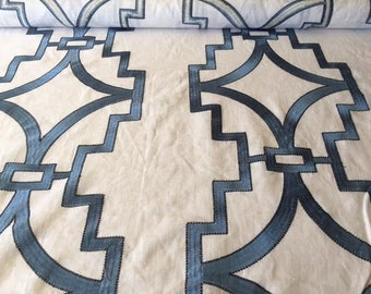Light blue with navy outlined embroidered fabric - geometric print - by the YARD!