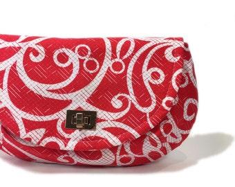 Red clutch red and white clutch red clutch purse with zipper pocket twist lock closure evening clutch hand held clutch small purse