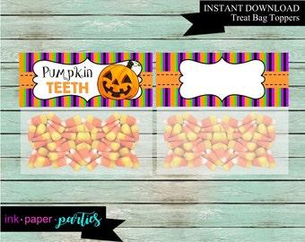 Halloween Pumpkin Teeth Party Favors Favor Bag Treat Toppers Digital File Instant Download