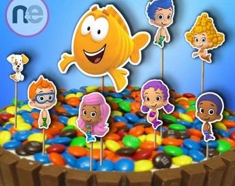 Bubble guppies cake etsy - Bubble guppies center pieces ...