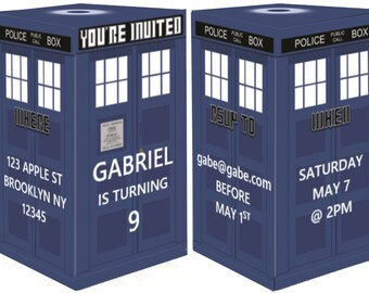 Doctor Who 3D Police Box Birthday Invitation - Instant Download Dr. Who Police Box 3D & Doctor Who Food Tents / Place Card Holders. Instand Download 6