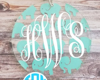 SALE!! 3 Inch Circle Elephant Monogrammed Keychain - Mother's Day Gift - Birthday Gift - Valentine's Gift
