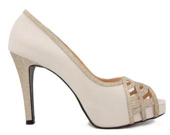 Custom Made Anisa Ivory White Satin Wedding Shoes