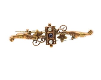 "Estate 9ct 9k Yellow and Rose Gold Pearl Black Onyx Vintage Bar Brooch Pin Flower 1-3/4"" long 2 g Victorian 9kt 9 k kt ct Antique Leaf White"